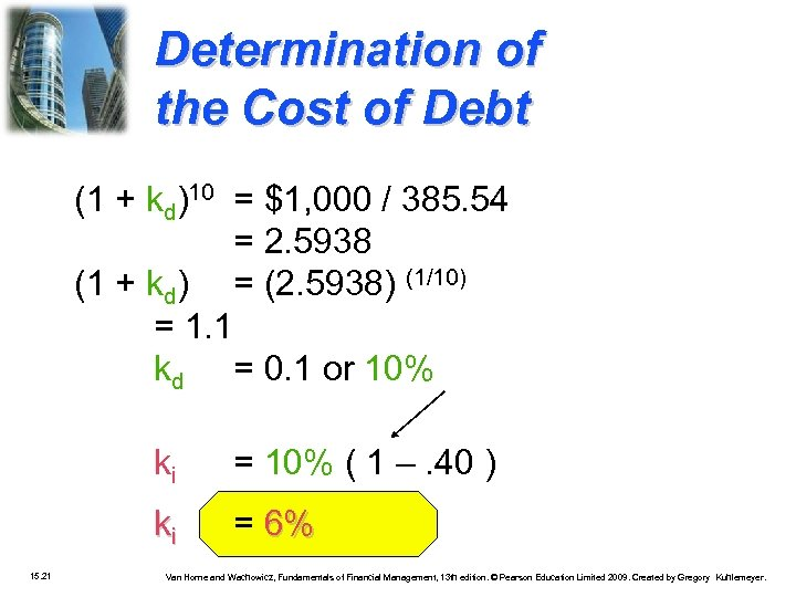 Determination of the Cost of Debt (1 + kd)10 = $1, 000 / 385.