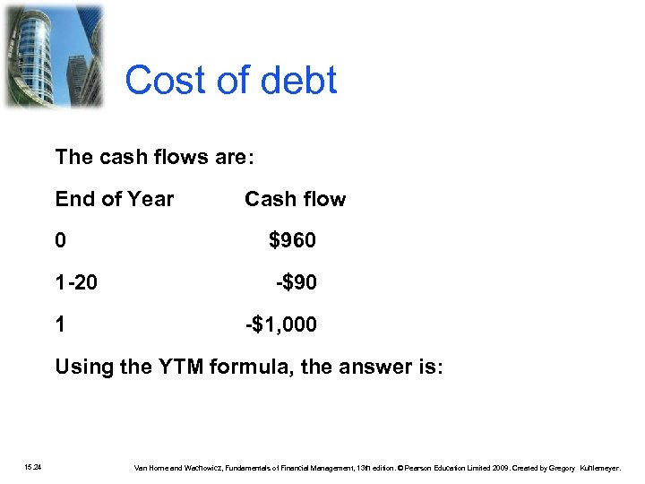 Cost of debt The cash flows are: End of Year Cash flow 0 $960