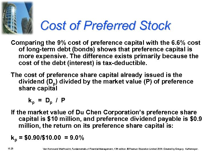 Cost of Preferred Stock Comparing the 9% cost of preference capital with the 6.