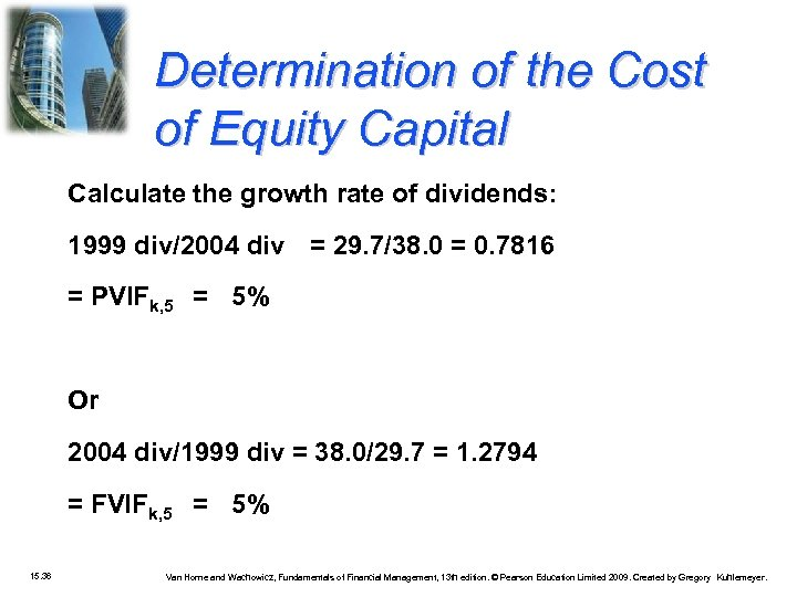 Determination of the Cost of Equity Capital Calculate the growth rate of dividends: 1999