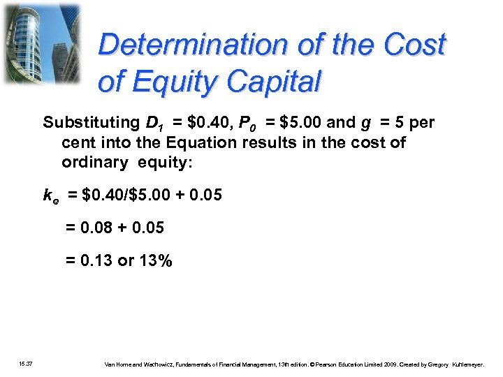 Determination of the Cost of Equity Capital Substituting D 1 = $0. 40, P