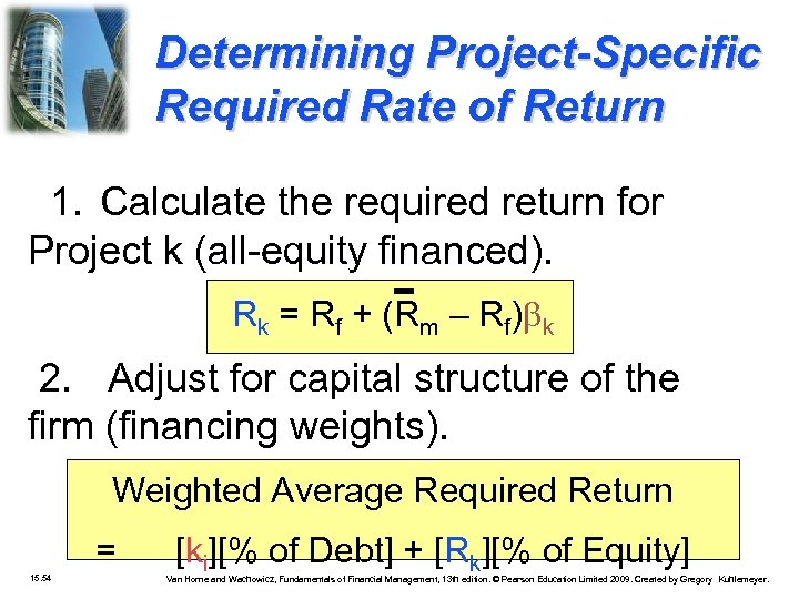 Determining Project-Specific Required Rate of Return 1. Calculate the required return for Project k