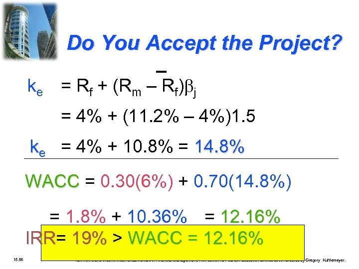 Do You Accept the Project? ke = Rf + (Rm – Rf) j =