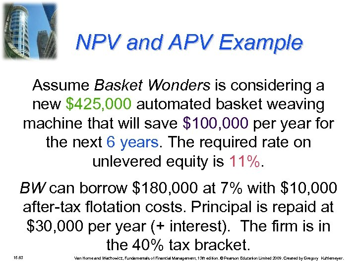 NPV and APV Example Assume Basket Wonders is considering a new $425, 000 automated