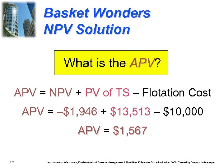 Basket Wonders NPV Solution What is the APV? APV = NPV + PV of