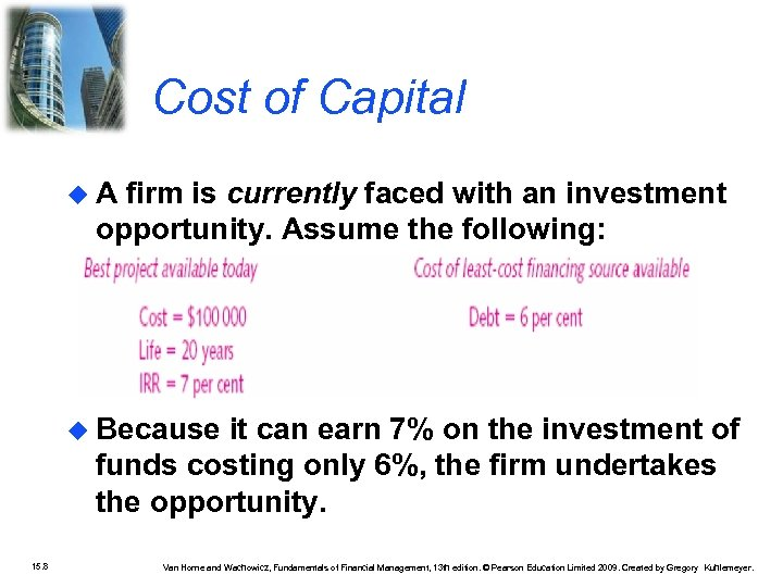 Cost of Capital A firm is currently faced with an investment opportunity. Assume the