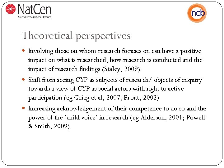 Theoretical perspectives Involving those on whom research focuses on can have a positive impact
