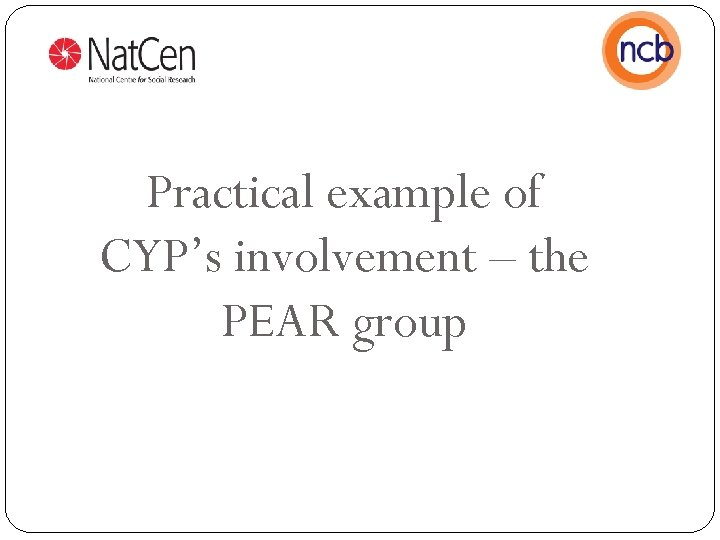 Practical example of CYP's involvement – the PEAR group