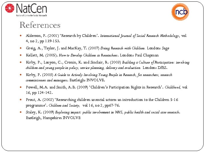 References Alderson, P. (2001) 'Research by Children'. International Journal of Social Research Methodology, vol