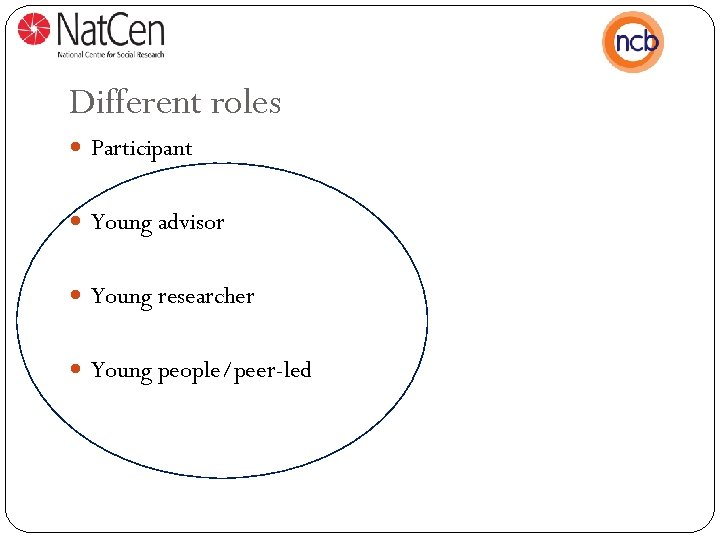Different roles Participant Young advisor Young researcher Young people/peer-led