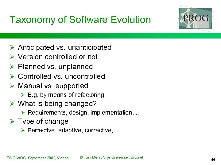 Taxonomy of Software Evolution Ø Ø Ø Anticipated vs. unanticipated Version controlled or not