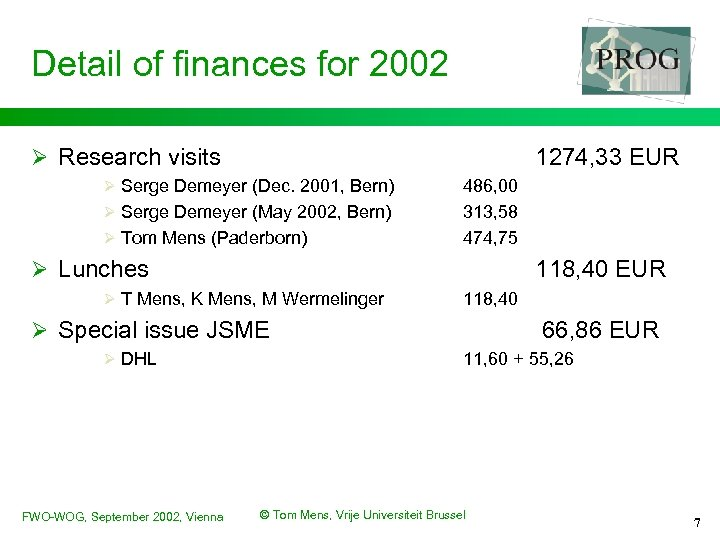 Detail of finances for 2002 Ø Research visits 1274, 33 EUR Ø Serge Demeyer
