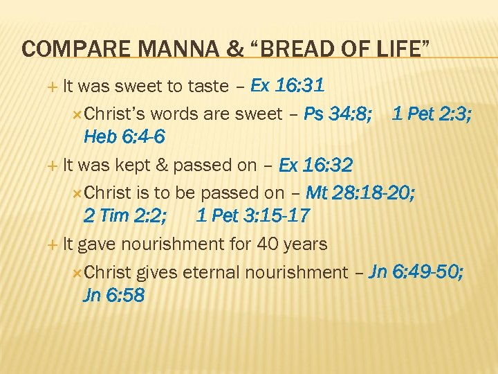 """COMPARE MANNA & """"BREAD OF LIFE"""" It was sweet to taste – Ex 16:"""