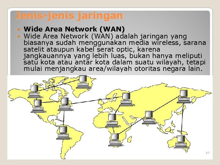 Jenis-jenis jaringan Wide Area Network (WAN) adalah jaringan yang biasanya sudah menggunakan media wireless,