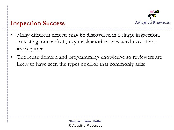 Inspection Success Adaptive Processes • Many different defects may be discovered in a single