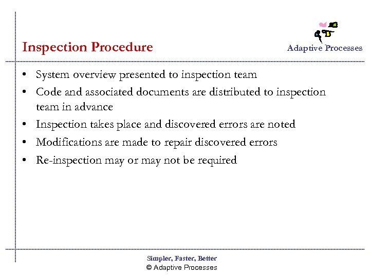 Inspection Procedure Adaptive Processes • System overview presented to inspection team • Code and