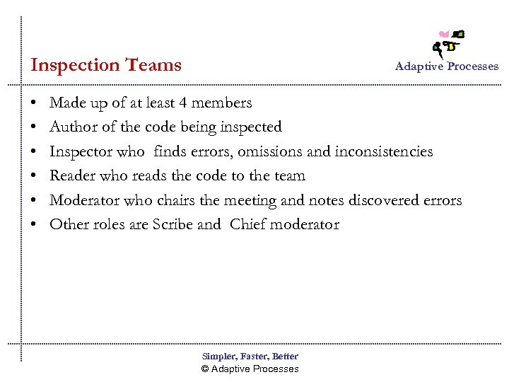 Inspection Teams • • • Adaptive Processes Made up of at least 4 members