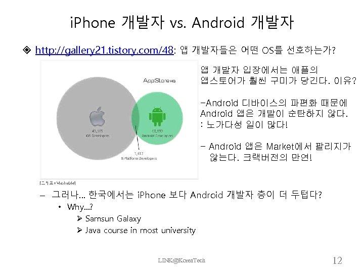 i. Phone 개발자 vs. Android 개발자 http: //gallery 21. tistory. com/48: 앱 개발자들은 어떤