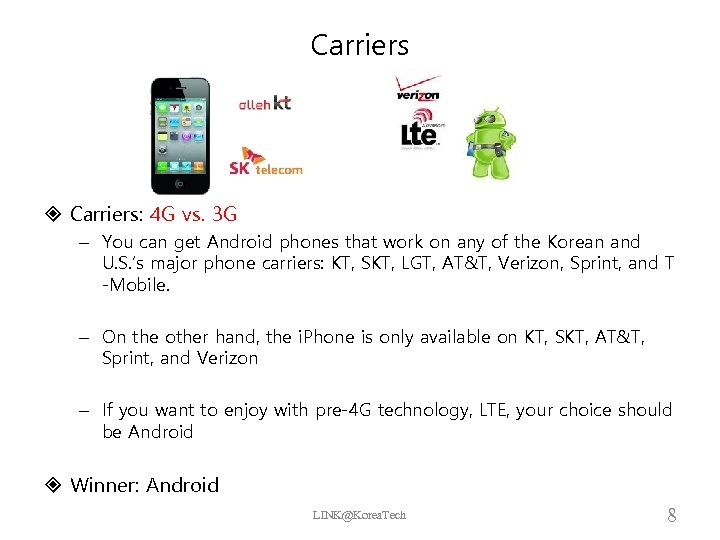 Carriers Carriers: 4 G vs. 3 G – You can get Android phones that