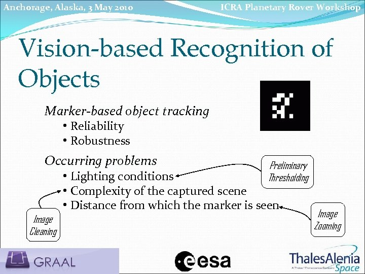 Anchorage, Alaska, 3 May 2010 ICRA Planetary Rover Workshop Vision-based Recognition of Objects Marker-based