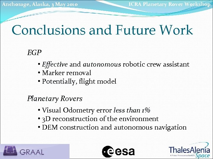 Anchorage, Alaska, 3 May 2010 ICRA Planetary Rover Workshop Conclusions and Future Work EGP