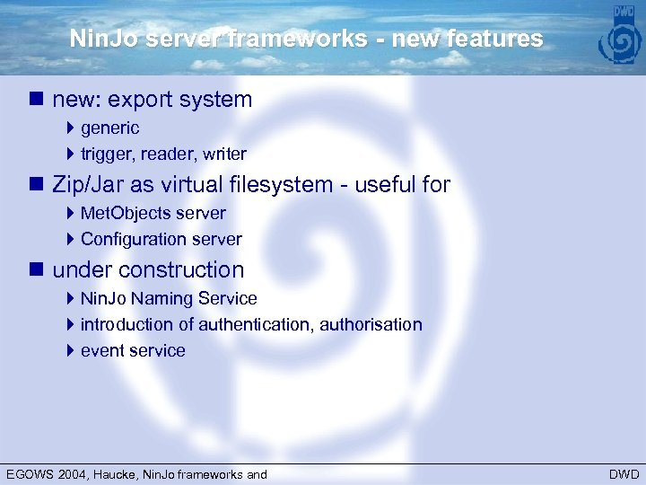 Nin. Jo server frameworks - new features n new: export system 4 generic 4