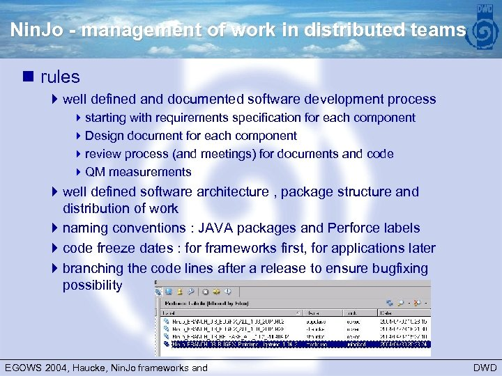 Nin. Jo - management of work in distributed teams n rules 4 well defined