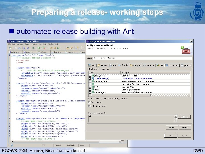 Preparing a release- working steps n automated release building with Ant EGOWS 2004, Haucke,