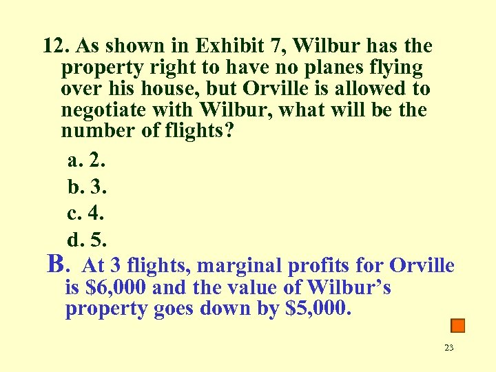 12. As shown in Exhibit 7, Wilbur has the property right to have no