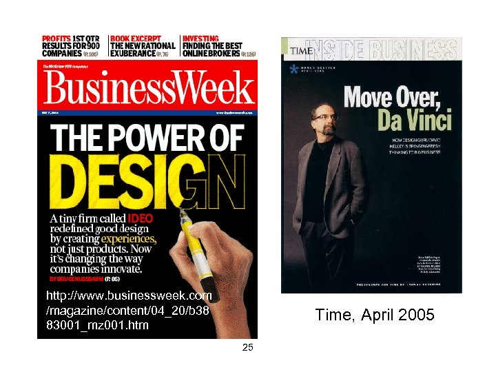 http: //www. businessweek. com /magazine/content/04_20/b 38 83001_mz 001. htm Time, April 2005 25