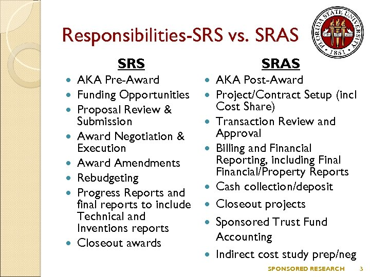 Responsibilities-SRS vs. SRAS SRS AKA Pre-Award Funding Opportunities Proposal Review & Submission Award Negotiation