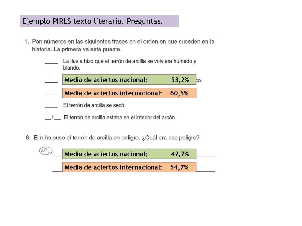 Ejemplo PIRLS texto literario. Preguntas. Media de aciertos nacional: 53, 2% Media de aciertos