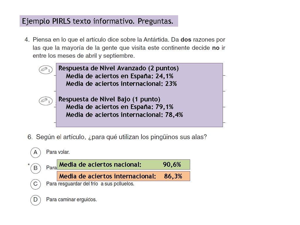 Ejemplo PIRLS texto informativo. Preguntas. Respuesta de Nivel Avanzado (2 puntos) Media de aciertos