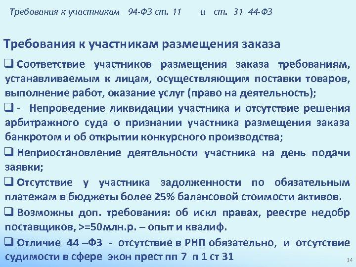 Требования к участникам 94 -ФЗ ст. 11 и ст. 31 44 -ФЗ Требования к