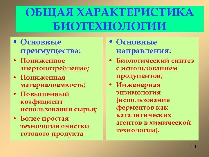 ОБЩАЯ ХАРАКТЕРИСТИКА БИОТЕХНОЛОГИИ • Основные преимущества: • Основные направления: • Пониженное энергопотребление; • Пониженная
