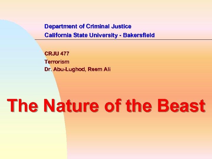 Department of Criminal Justice California State University - Bakersfield CRJU 477 Terrorism Dr. Abu-Lughod,