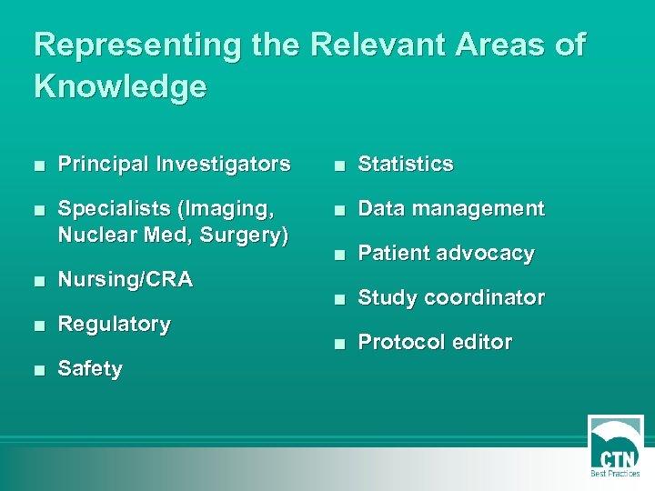 Representing the Relevant Areas of Knowledge ■ Principal Investigators ■ Statistics ■ Specialists (Imaging,