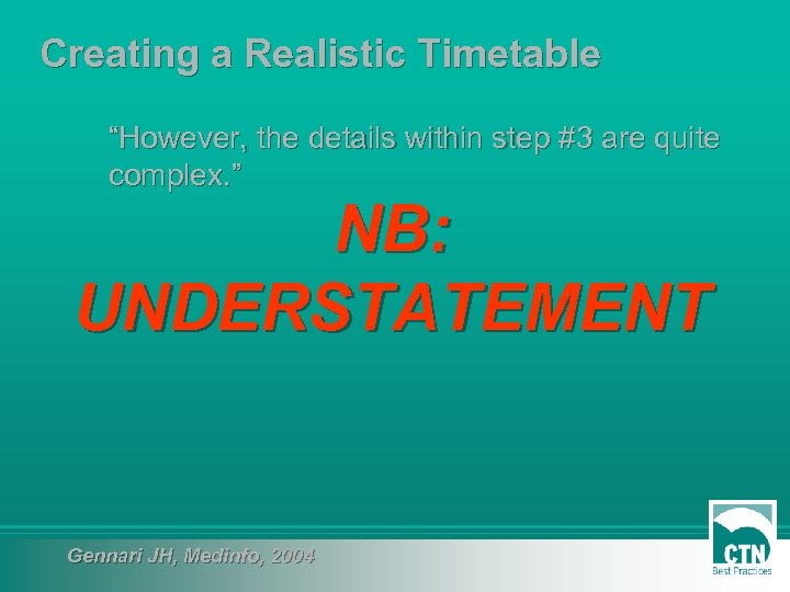 """Creating a Realistic Timetable """"However, the details within step #3 are quite complex. """""""