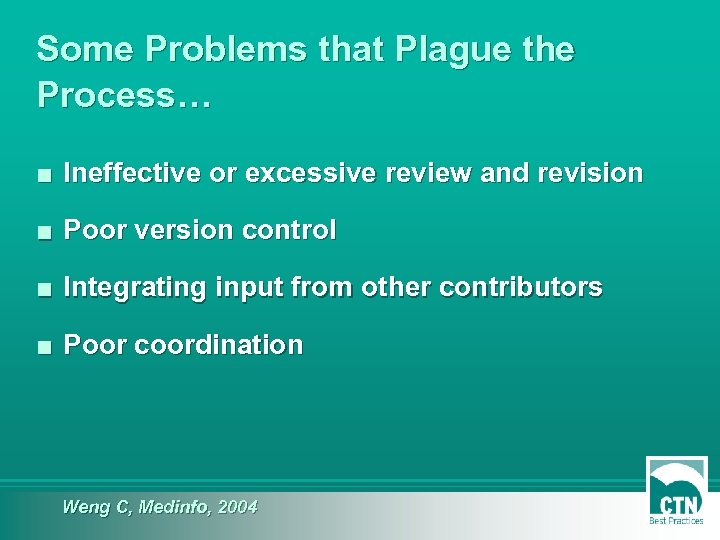 Some Problems that Plague the Process… ■ Ineffective or excessive review and revision ■