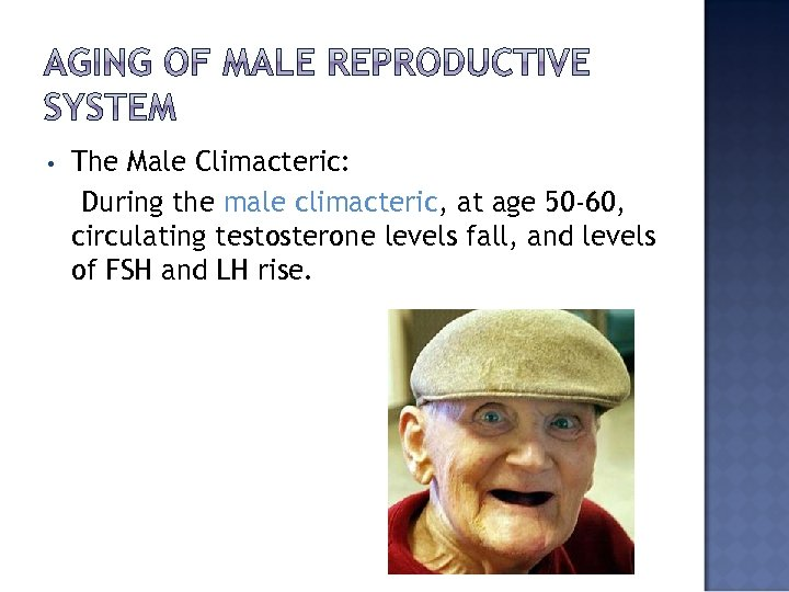 • The Male Climacteric: During the male climacteric, at age 50 -60, circulating