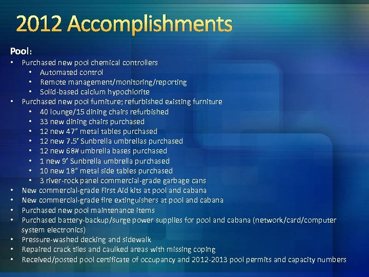 2012 Accomplishments Pool: • • • Purchased new pool chemical controllers • Automated control