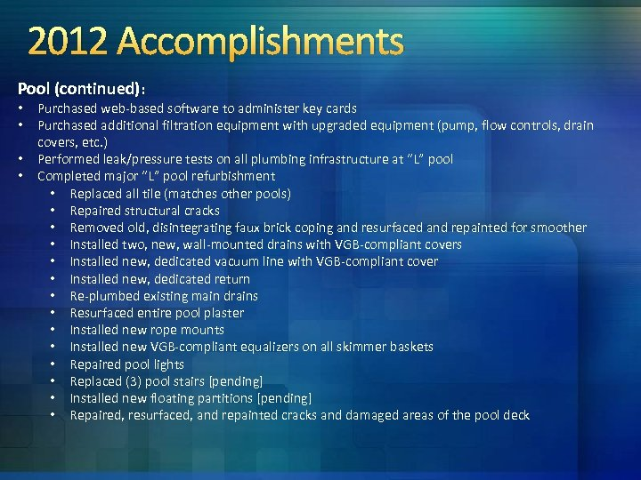 2012 Accomplishments Pool (continued): • • Purchased web-based software to administer key cards Purchased