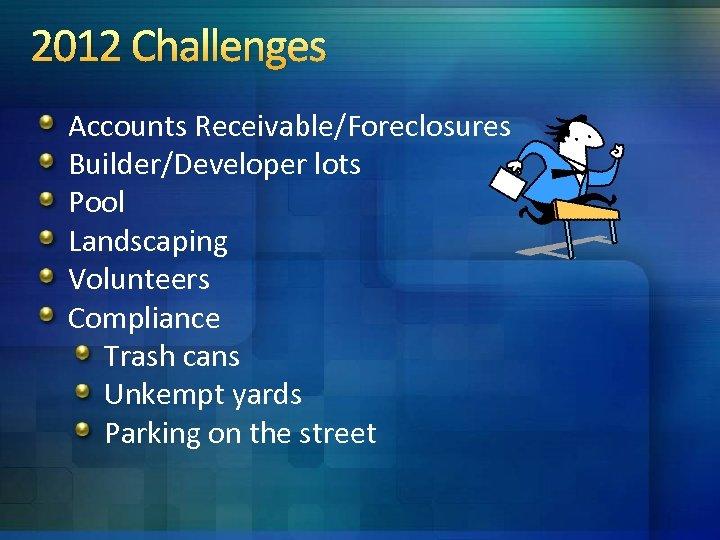 2012 Challenges Accounts Receivable/Foreclosures Builder/Developer lots Pool Landscaping Volunteers Compliance Trash cans Unkempt yards