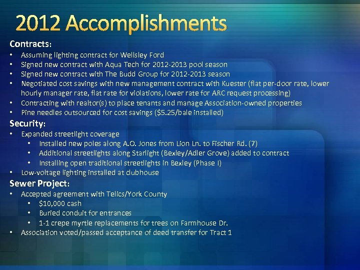 2012 Accomplishments Contracts: • • • Assuming lighting contract for Wellsley Ford Signed new