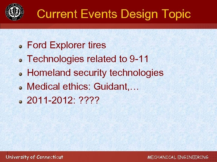 Current Events Design Topic Ford Explorer tires Technologies related to 9 -11 Homeland security