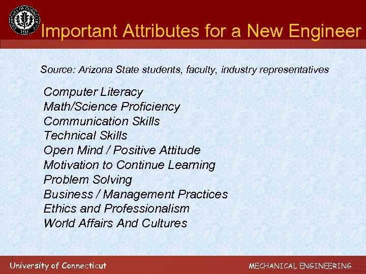 Important Attributes for a New Engineer Source: Arizona State students, faculty, industry representatives Computer
