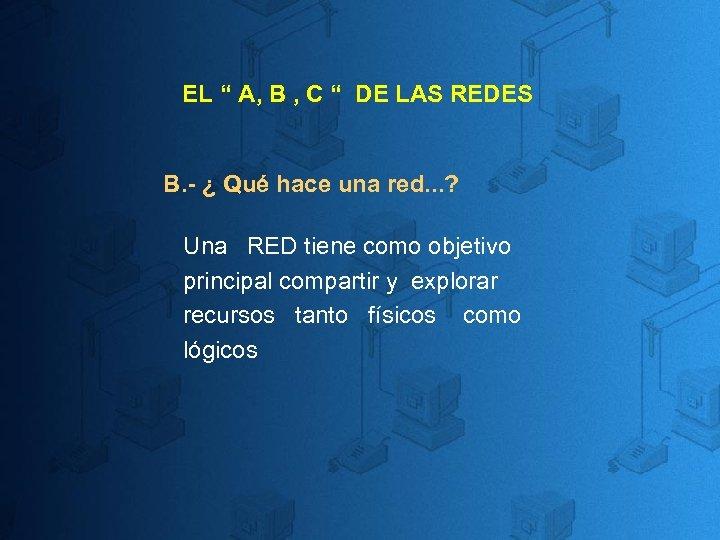 """EL """" A, B , C """" DE LAS REDES B. - ¿ Qué"""
