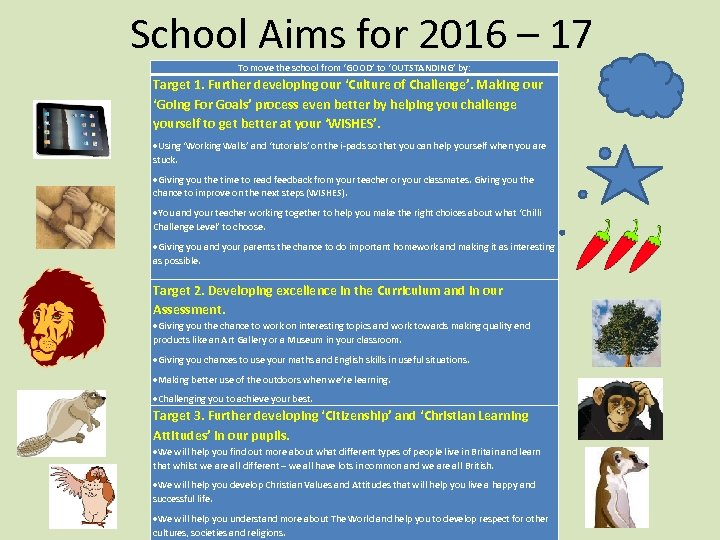 School Aims for 2016 – 17 To move the school from 'GOOD' to 'OUTSTANDING'