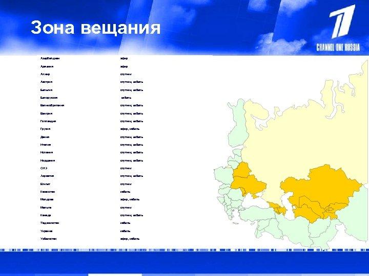 Зона вещания Азербайджан эфир Армения эфир Алжир спутник Австрия спутник, кабель Бельгия спутник, кабель