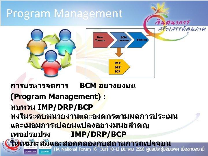 Program Management New Threats BCM process Monitor IMP DRP BCP การบรหารจดการ BCM อยางยงยน (Program